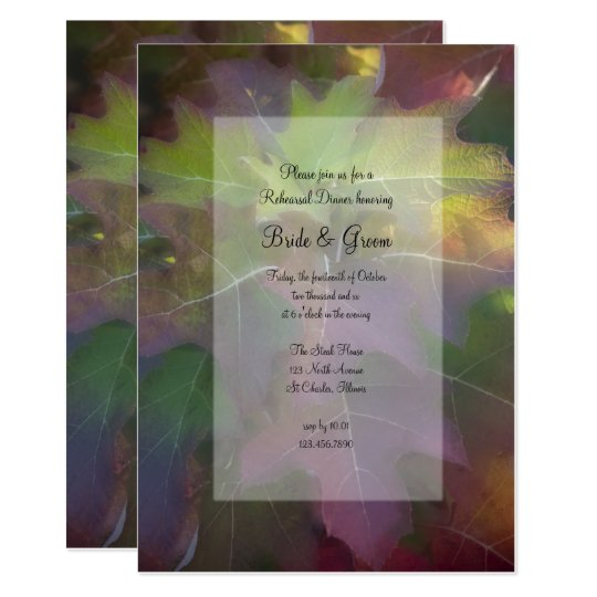 Fall Oak Leaf Hydrangea Wedding Rehearsal Dinner Card