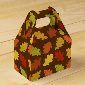 Fall Oak Leaves Pattern Favor Box