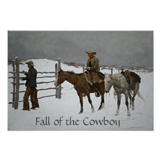 """""""Fall of the Cowboy"""" by Frederic Remington Poster"""