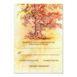 fall old tree rustic wedding RSVP cards 9 Cm X 13 Cm Invitation Card