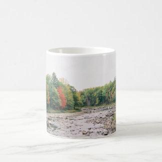 Fall on river basic white mug
