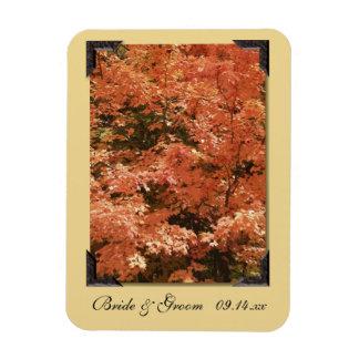 Fall Orange Leaves Wedding Save the Date Rectangular Photo Magnet