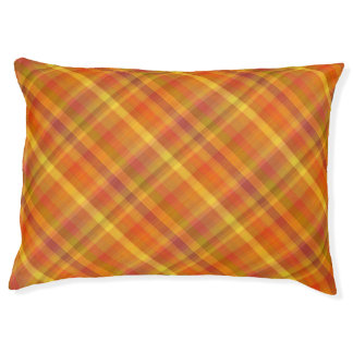 Fall Orange Plaid Pattern Dog Bed
