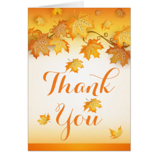 Fall Orange Thank You Autumn Leaves Wedding Card