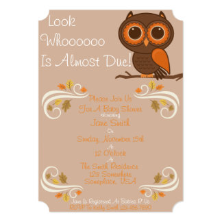Fall Owl Baby Shower Card