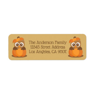 Fall Owl in Pumpkin Return Address Labels