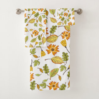 Fall pattern yellow floral bath towel set
