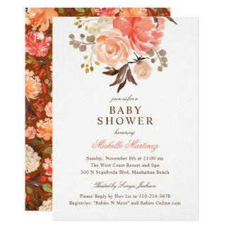 Fall Peach Olive Watercolor Floral Baby Shower Card
