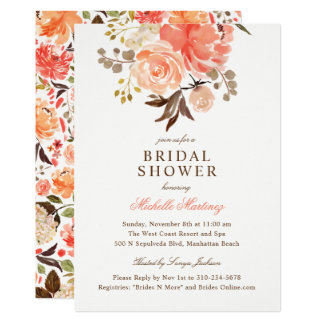 Fall Peach Olive Watercolor Floral Bridal Shower Card
