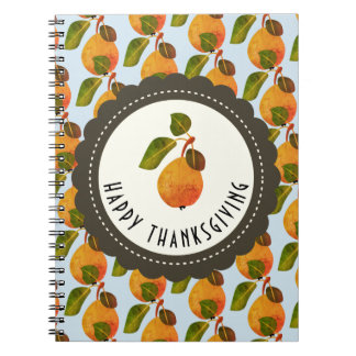 Fall Pears Fruit Thanksgiving Spiral Notebook