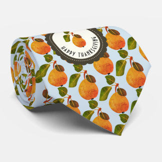 Fall Pears Fruit Thanksgiving Tie