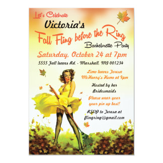 Fall Pin up Last Fling Before the Ring Invitation