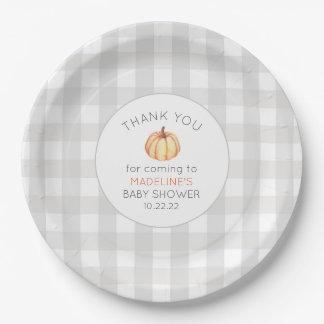 Fall pumpkin baby shower decor, neutral gingham paper plate