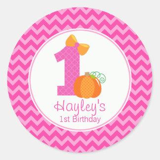 Fall Pumpkin Birthday Sticker, Girl Pumpkin 1st Classic Round Sticker