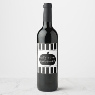 Fall Pumpkin Bridesmaid Proposal Gift Wine Label