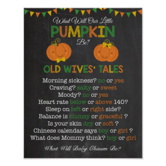 Fall Pumpkin Gender Reveal Old Wives' Tales Poster