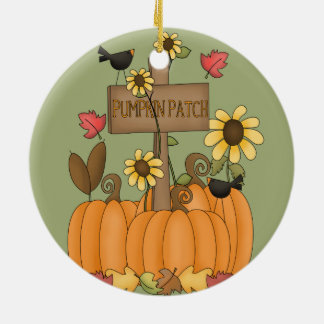 Fall Pumpkin Patch with Birds Ceramic Ornament
