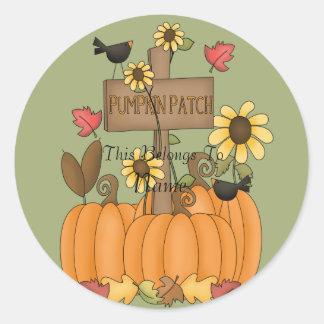 Fall Pumpkin Patch with Birds Round Sticker