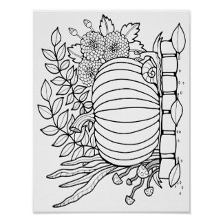 Fall Pumpkin Scene Cardstock Adult Coloring Page Poster