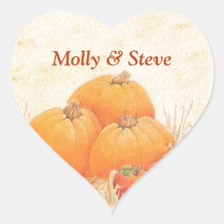 Fall Pumpkins Background Heart Sticker