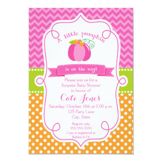 Fall Pumplin Baby Shower, Girl Pumpkin Card