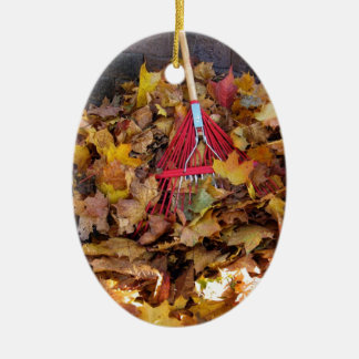 Fall - Raking the Leaf Harvest , Photograph Ceramic Ornament