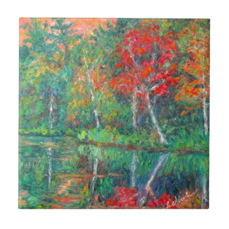 Fall Reflections at Peaks of Otter Ceramic Tile
