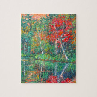 Fall Reflections at Peaks of Otter Jigsaw Puzzle