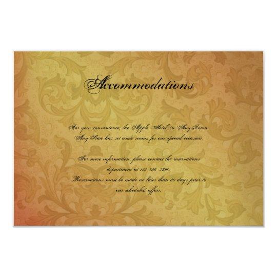 Fall Regency Wedding Insert Card