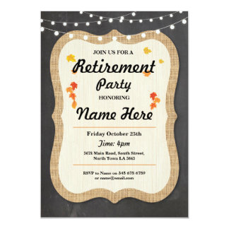 Fall Retirement Party Rustic Retired Chalk Invite