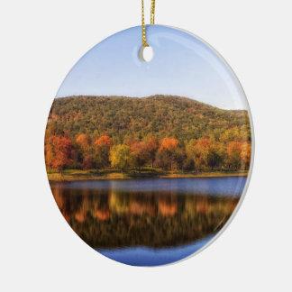 """fall river lake"" round ceramic decoration"