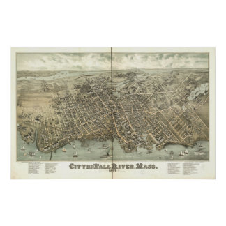 Fall River Mass. 1877 Antique Panoramic Map Poster
