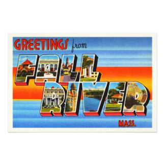 Fall River Massachusetts MA Old Travel Souvenir Photo Art