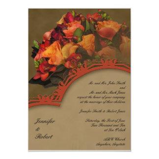 "Fall Rose Bouquet Invitation 5"" X 7"" Invitation Card"