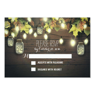 Fall RSVP cards with twinkle lights mason  jars