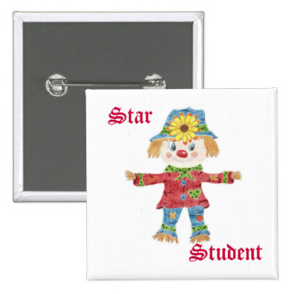 Fall scarecrow star student button