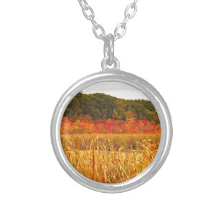 Fall Scene at Great Meadows Silver Plated Necklace
