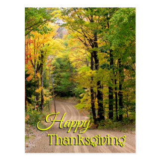 Fall Season Foliage Back Road Thanksgiving Postcard