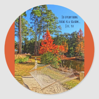 Fall Season Inspirational Scripture Bible Verse Classic Round Sticker