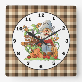 Fall Seasonal Scarecrow wall clock