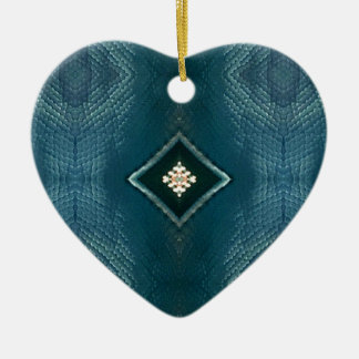 Fall Shade Of Blue With Cream Diamond Shape Ceramic Heart Decoration