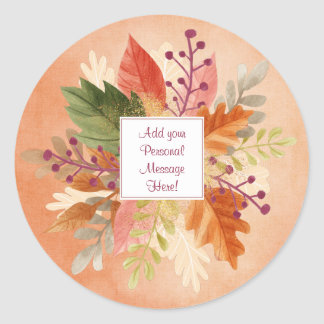 Fall Spray of WC Leaves - Customize Classic Round Sticker