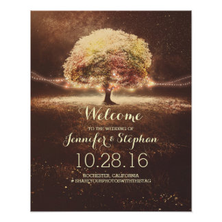Fall String Lights Tree Wedding Welcome Sign Poster