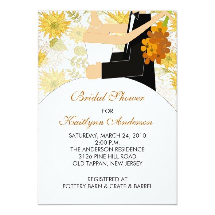Fall Sunflower Bride Bridal Shower Invitation