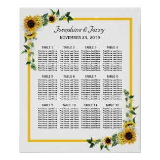 Fall Sunflower Country Wedding Seating Chart