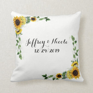 Fall Sunflower Rustic Barn Country Wedding Cushion