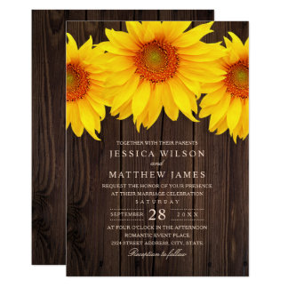 Fall Sunflower Wedding Rustic Country Barn Card