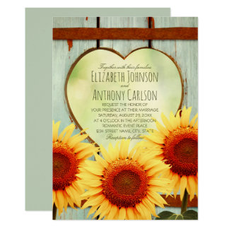 Fall Sunflower Wedding Rustic Country Fence Card