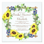 Fall Sunflowers Floral Bridal Shower 5.25x5.25 Square Paper Invitation Card