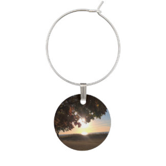 Fall Sunset At The Lake Wine Glass Charm